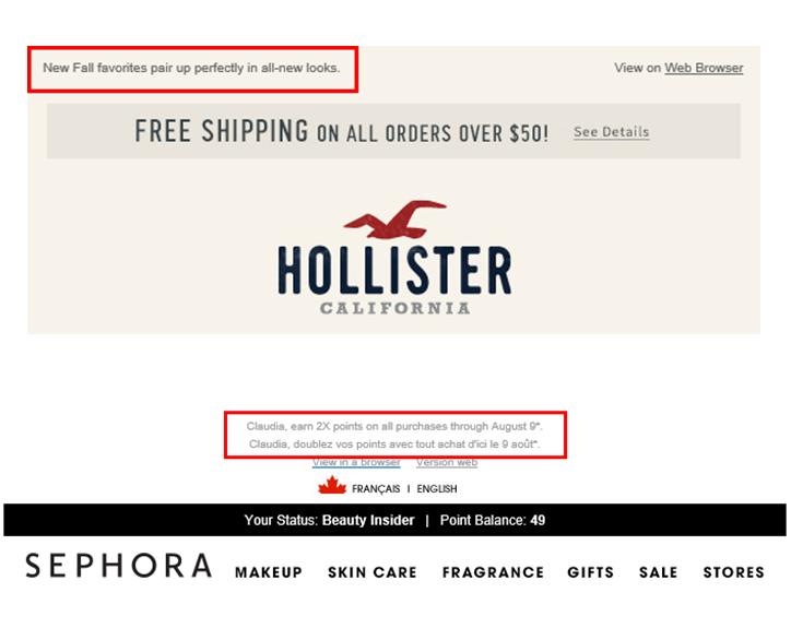 Hollister et Sephora Amorce