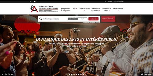 Copie d'écran du nouveau site web