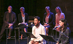 Actors Charles Manzo and Heath V. Salazar, part of the cast of Canadian Stage's Territorial Tales, performing poems by Alice Liu.