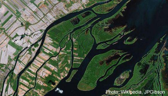 vue aérienne des îles du lac St-Pierre et de l'île de Grâce